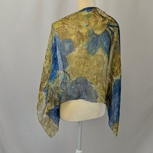 Vintage blue and yellow floral scarf